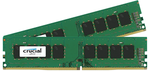 16GB DDR4 - 2400 MHz Crucial CL17 SR x8 DIMM kit, 2x8GB