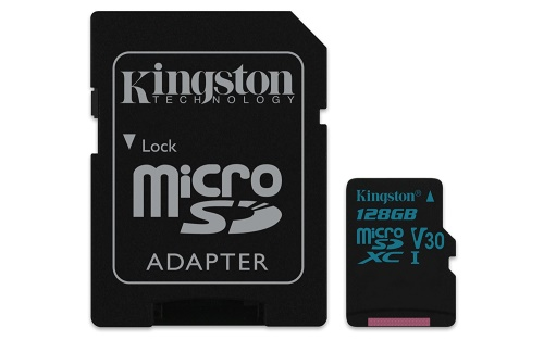 128GB microSDXC Kingston Canvas Go UHS-I U3 V30 90R/45W + SD adaptér