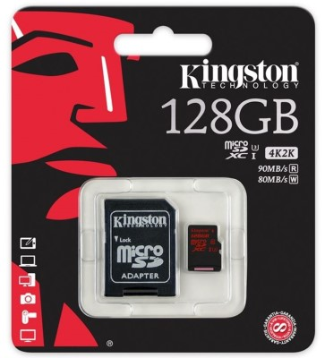128GB microSDXC Kingston UHS-I Class U3 90MB/s read, 80MB/s write + SD Adapter (SDCA3/128GB)