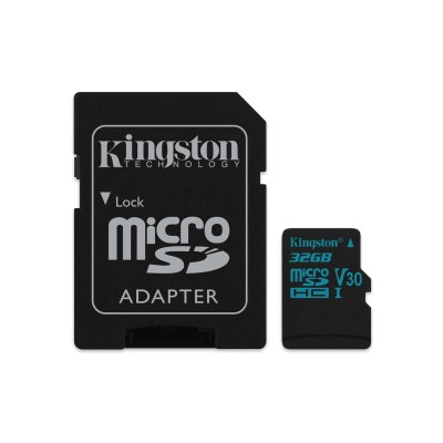 32GB microSDHC Kingston Canvas Go UHS-I U3 V30 90R/45W + SD adaptér
