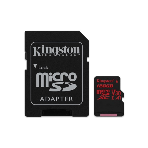 128GB microSDXC Kingston Canvas React  U3 100R/70W V30 A1 + SD adapter